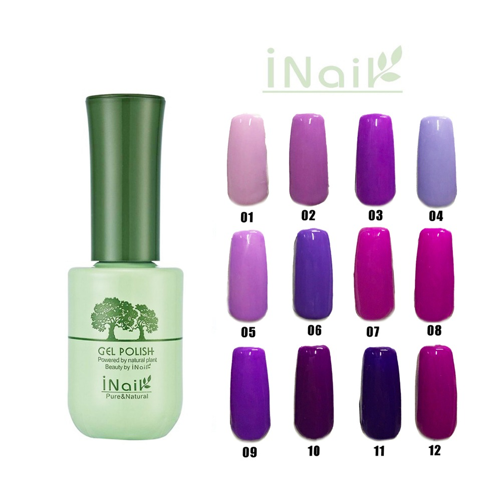 Free shipping Noble Purple Series 12pcs Inail Gel Nail Polish 15ml 12 colors for choice