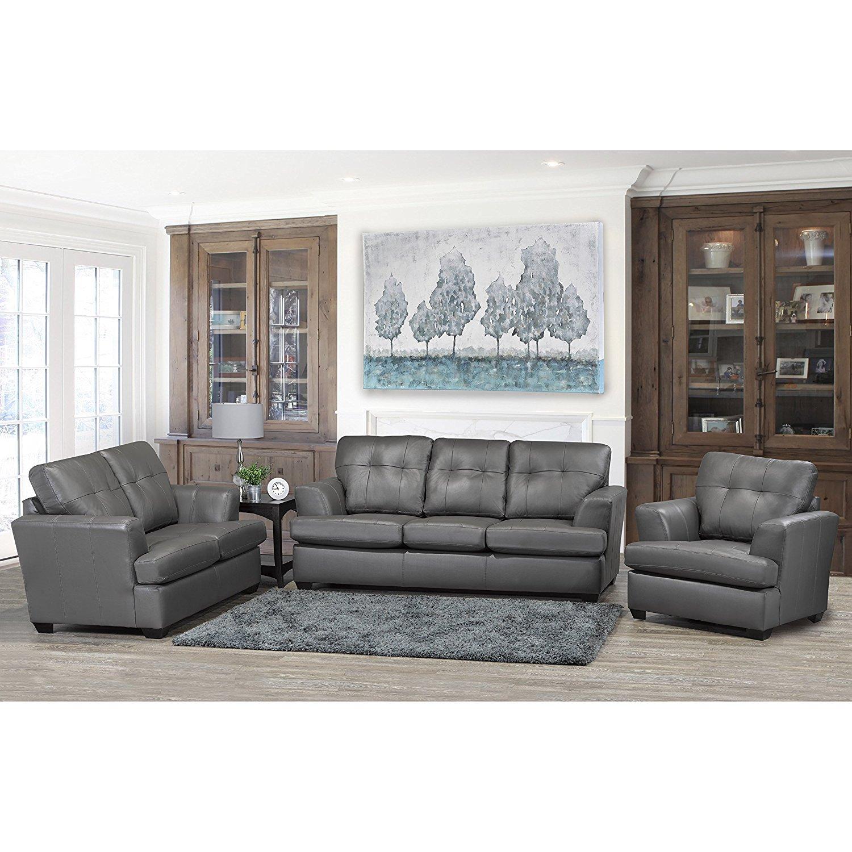 Sofaweb.com Travis Premium Grey Top Grain Leather Sofa, Loveseat and Chair Set