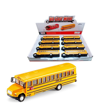 Pull back alloy yellow school bus diecast metal bus toys for kids with light and sound