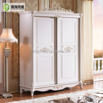 White Antique French Sliding Door Bedroom Wardrobe Armoire Furniture