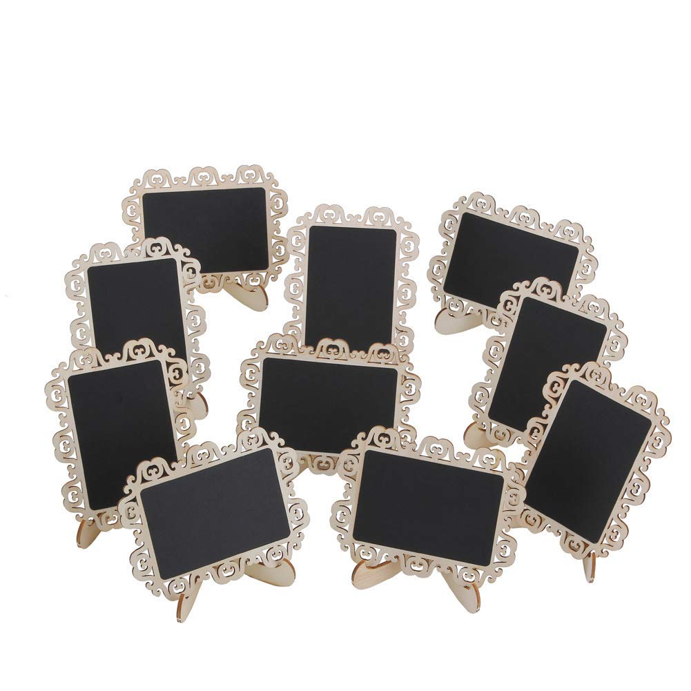 12 PCS Mini Chalkboard Signs with Decorative Boarder Easel Stand for Message Board Signs Wedding Party Table Numbers Place Card Decorative Sign