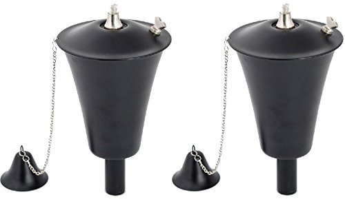 Kona Torch Set of 2, landscape torch, torch, tabletop torch, oil lamp torch (Smooth Black)