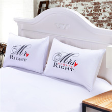 One Pair MR and MRS Pillowcases Personalised Pillow Cases for Him or Her Romantic Anniversary Wedding Valentine's Gift