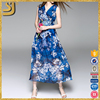 Floral Polyester Vintage Printed Sleeveless Wrap Dress