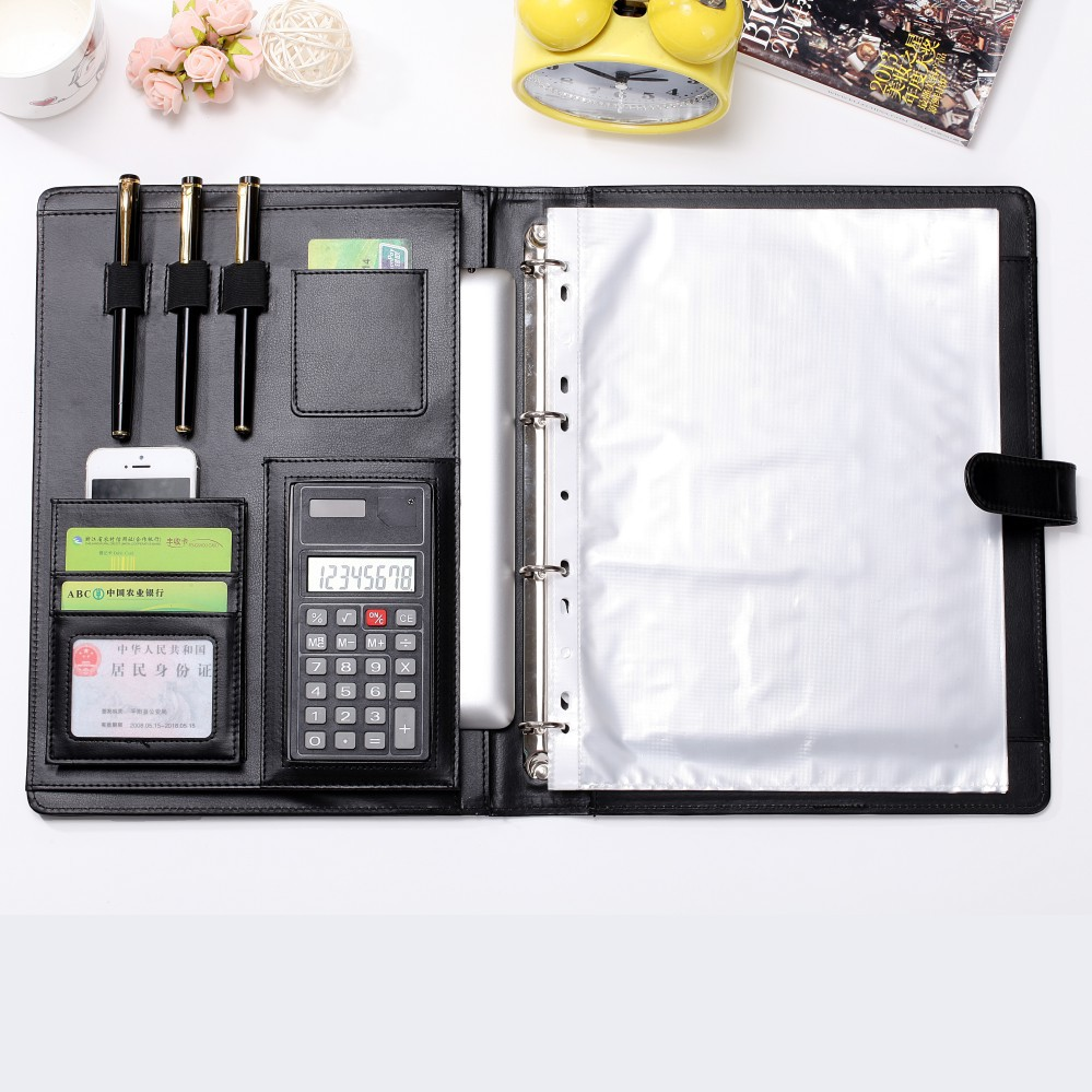 conference folders / pu leather file folder / leather portfolio
