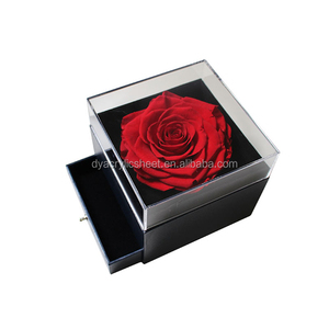 Acrylic Display Single Rose Flower Box with Lid