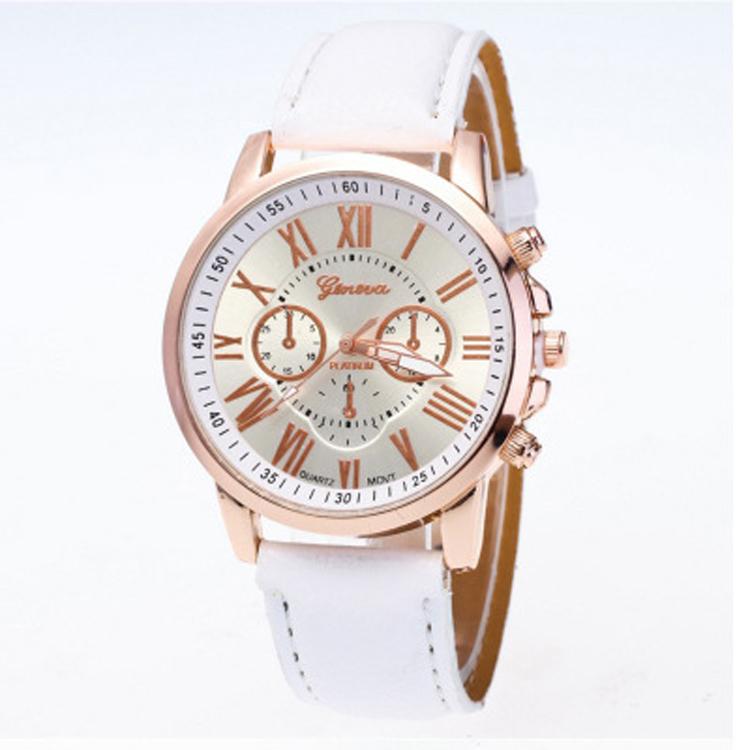 Hot Selling Cheapest Geneva Watch Relogio Feminino Women Quartz Watch Beautiful Design Fashion Pu Band Multi Colors Wome