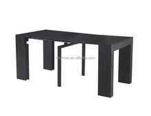 fashional extension dining table,black powder coating middle metal leg, MDF top