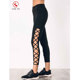 ODM/OEM wholesaler supply custom made pure color leggings black side strappy cutout slim fit pants