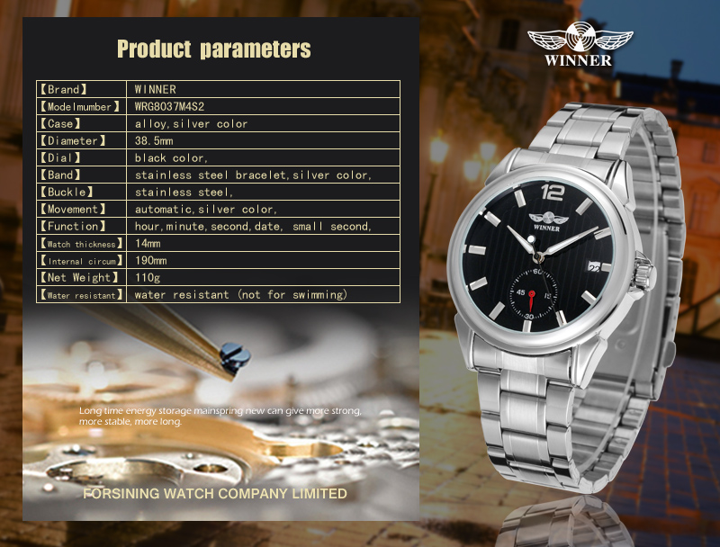 2020 T-WINNER Fashion Wholesale Automatic Silver Mechanical Watch horloge Wristwatch Customize Your Own Brand