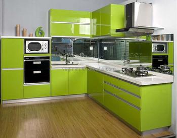 Modern High Gloss Hijau Pantry Lemari Aluminium Dapur Kabinet