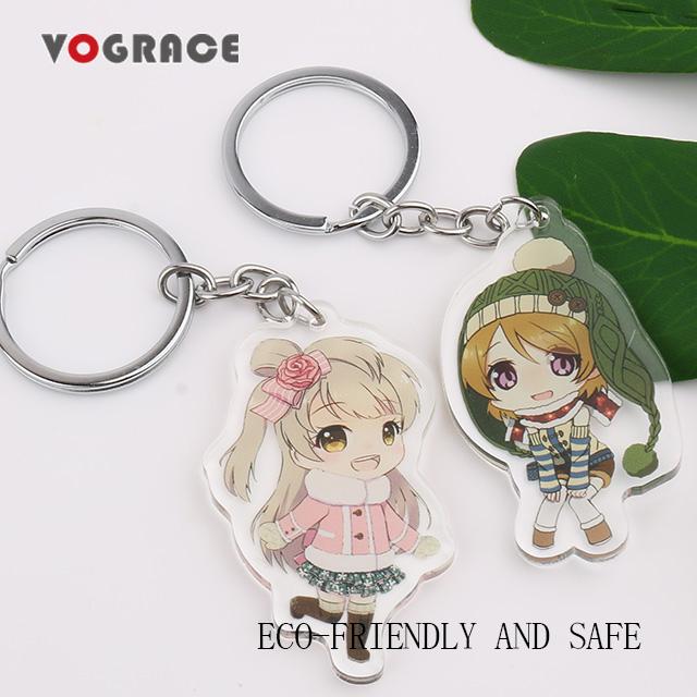 Vograce promotionnel personnalisé pas de minimum pas cher blanc anime acrylique porte-clés breloque pour promotionnel