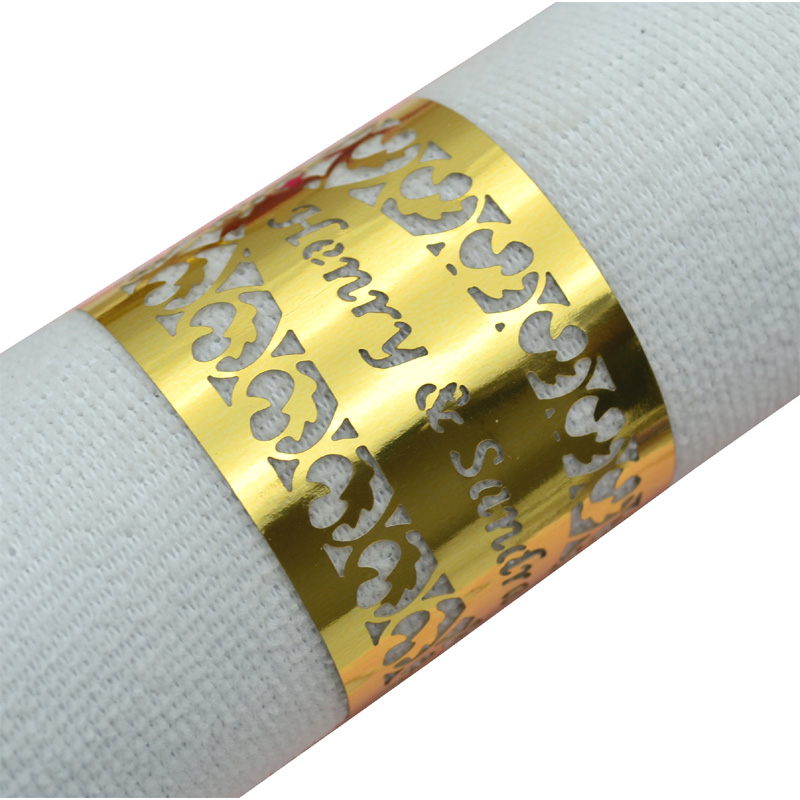 Filigree laser cut personalized gold napkin rings for weddings, White;purple;black;blue;ivory;beige;gold;red;brown;pink;green;etc.