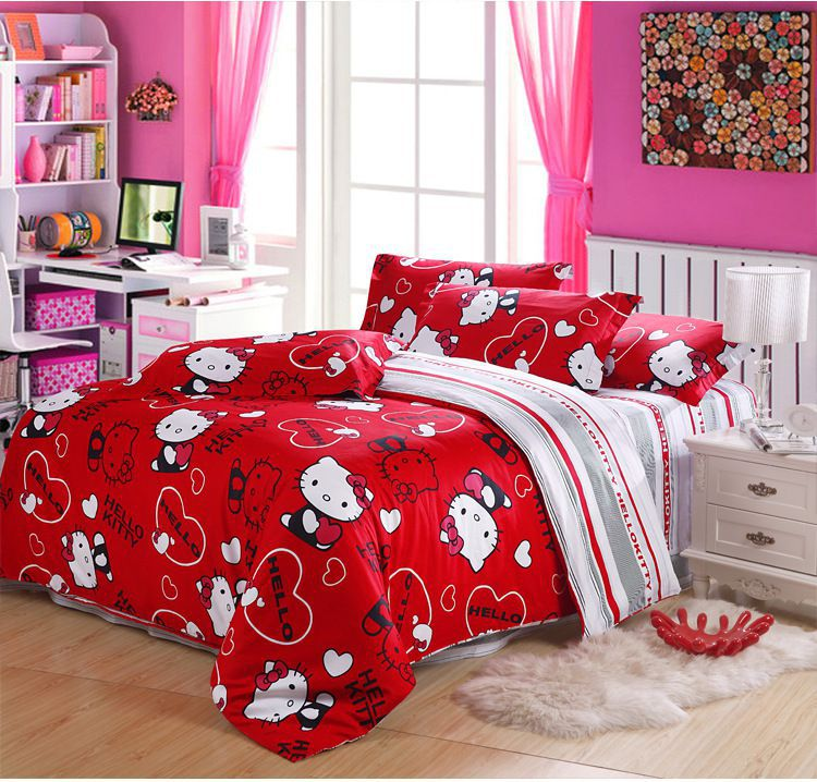 Free Shipping!hello Kitty Queen Size 100% Cotton Bedding