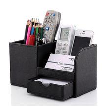 Ручка карандаш держатель коробка полная половина PU кожаный чехол стол канцелярские принадлежности Органайзер коробка для хранения настол...(Китай)