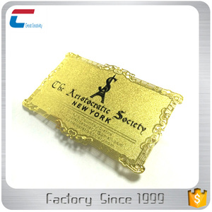 Customizable gold metal visiting loyalty card