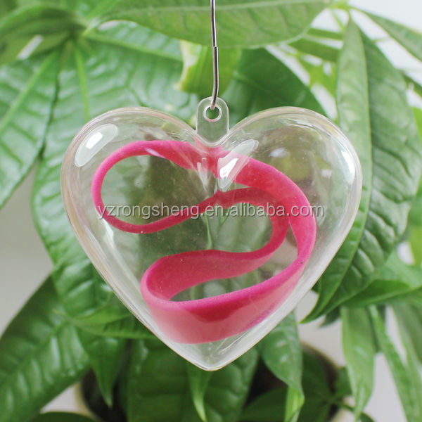 promotional heart shape christmas transparent plastic ball