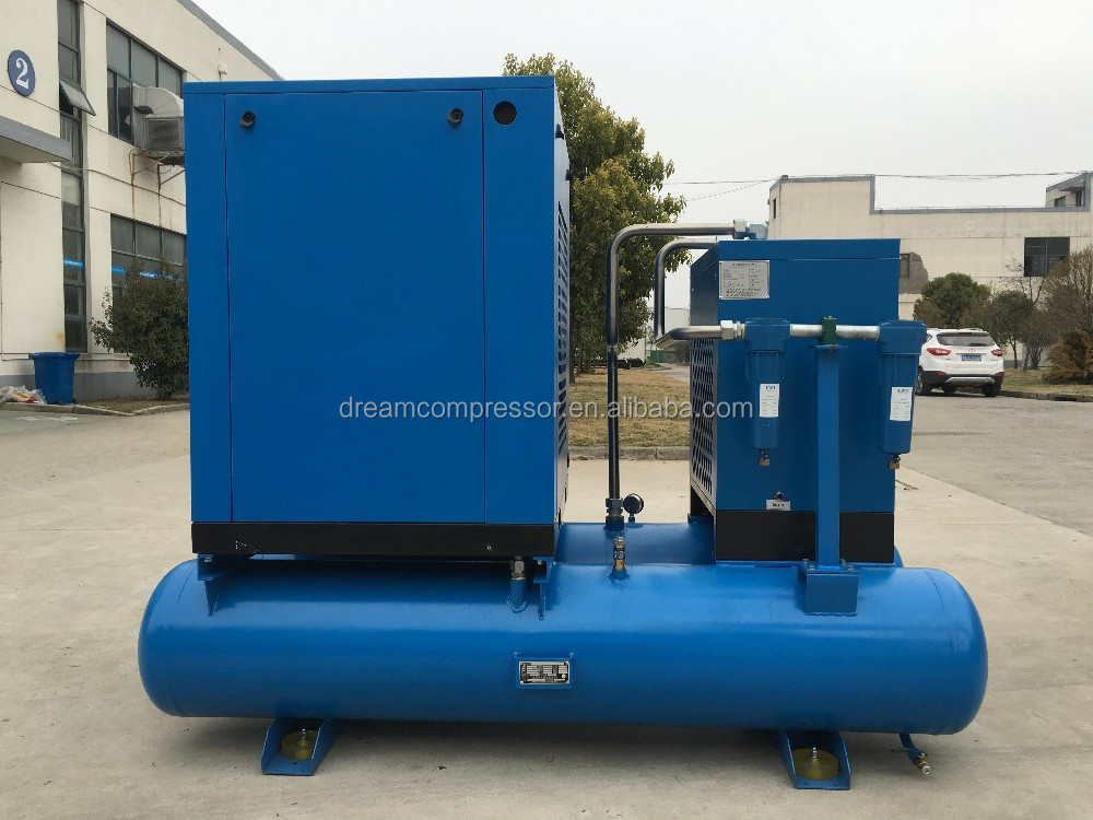 22kw voltage customized combined screw air compressor including air dryer and air tank