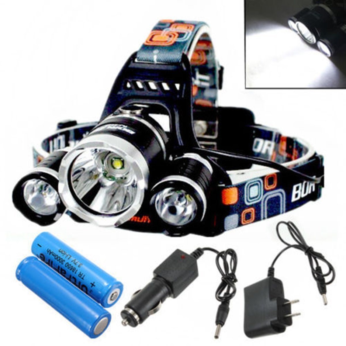 XM-L T6 LED 3T6 Rechargeable Headlamp Headlight Torch / XM-L T6 4 Modes Rechargeable Led Headlight Headlamp Head Lamps Led Headlight Light Plus AC Charger Car Charger 18650 Battery . s: I