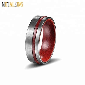 8mm Tungsten Carbide Wood Inlay Ring Matte Finish Men S Wedding Band