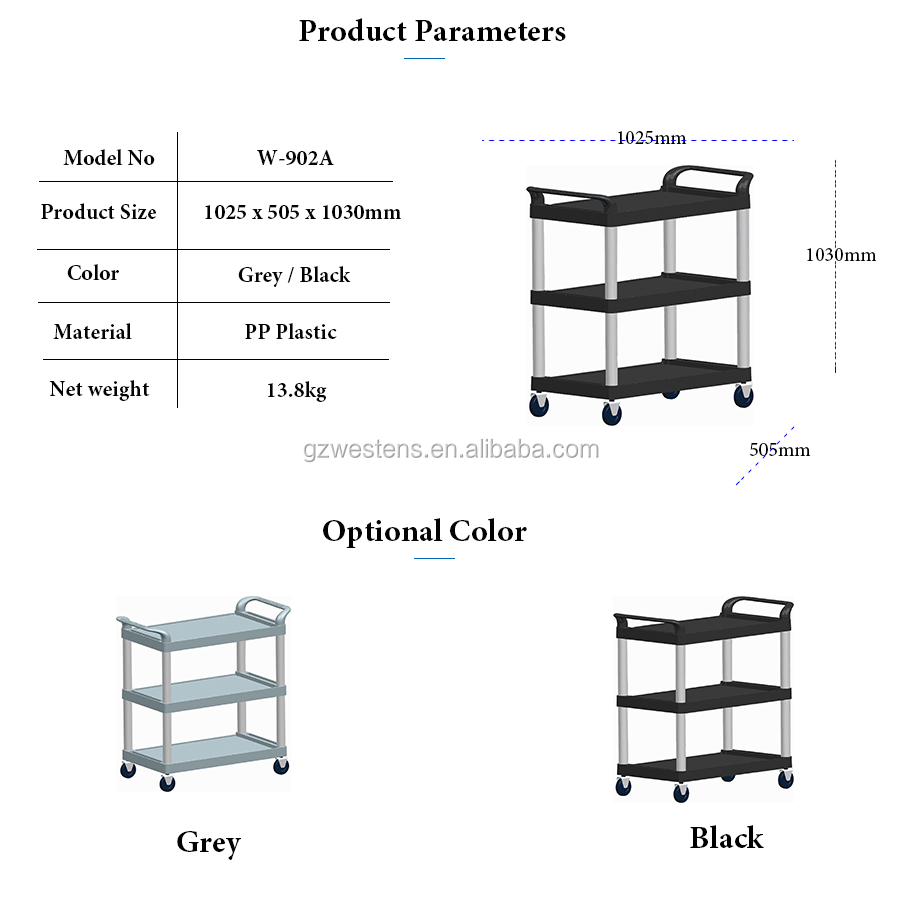 Mobile Plastic Hand Cleaning Service Kitchen Trolley
