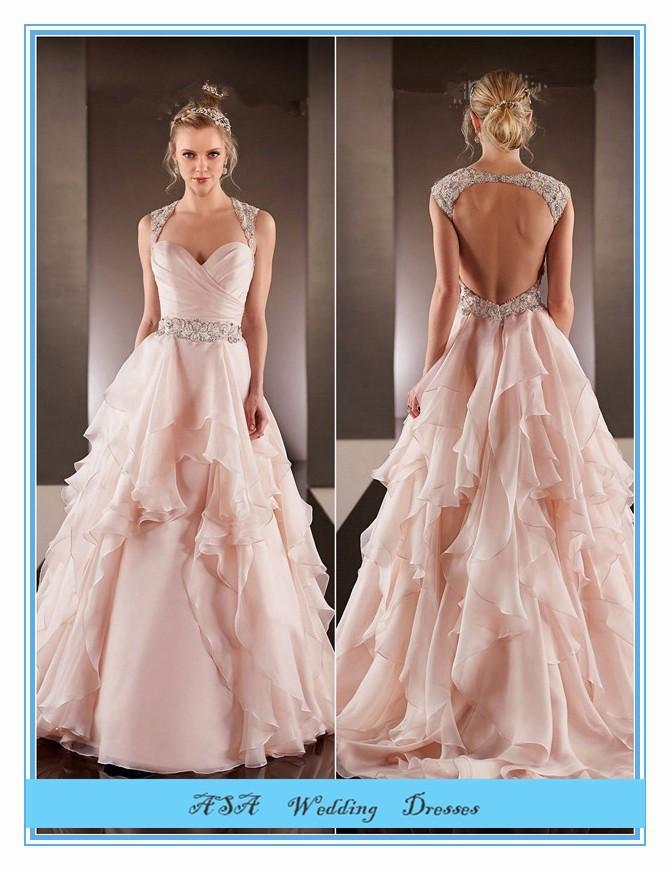 Fashion Plus Size Hot Sexy Light Pink Chiffon Wedding Gowns