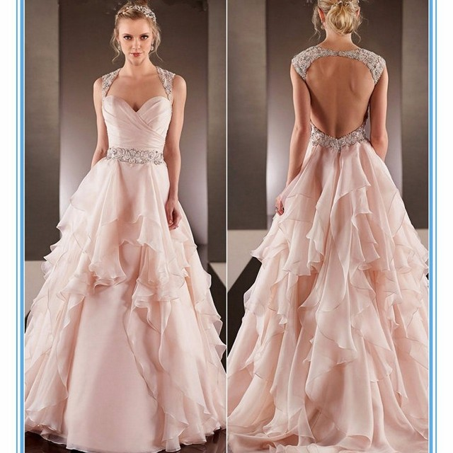 Fashion Plus Size Hot Sexy Light Pink Chiffon Wedding Gowns Islamic Wedding  Dresses 2015(YASA