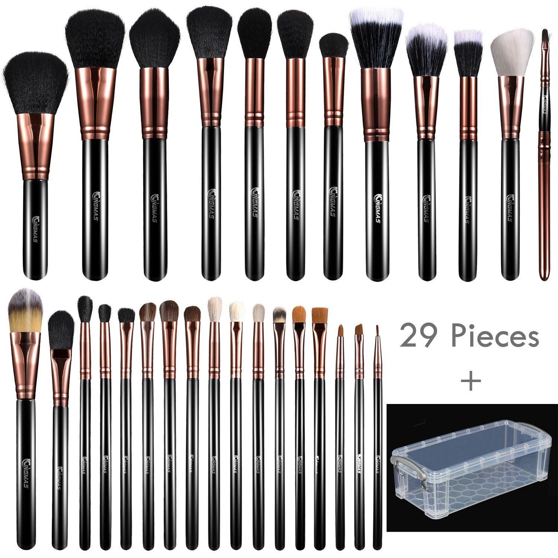 KINGMAS 29 Pcs Professional Makeup Brush set Synthetic/Goat/Pony hair Kabuki Cosmetics Foundation Makeup Foundation Eyeliner Blush Contour Powder Cream Makeup Brushes