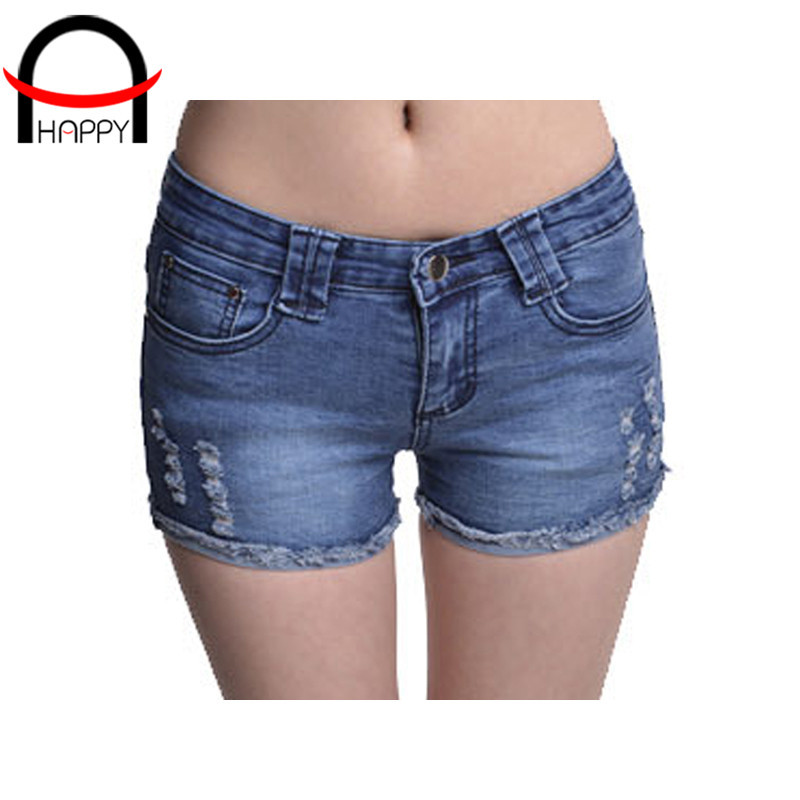 2015 summer style demin shorts feminino casual solid color raw edges bermudas feminino vintage slim thin shorts size S-L WP027