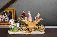 Horse-drawn cart design hand painted porcelain figurine