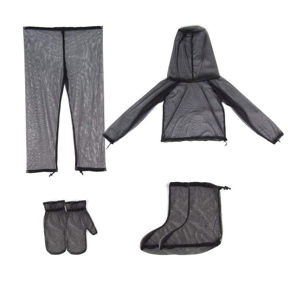 V-Top-Shop Mosquito Suit Repellent Bug Jacket Set - Mesh Insect Protective - for Fishing & Hiking - Size S/M - Unisex - Adjustable - Gray - 1 Set of 7 Pcs