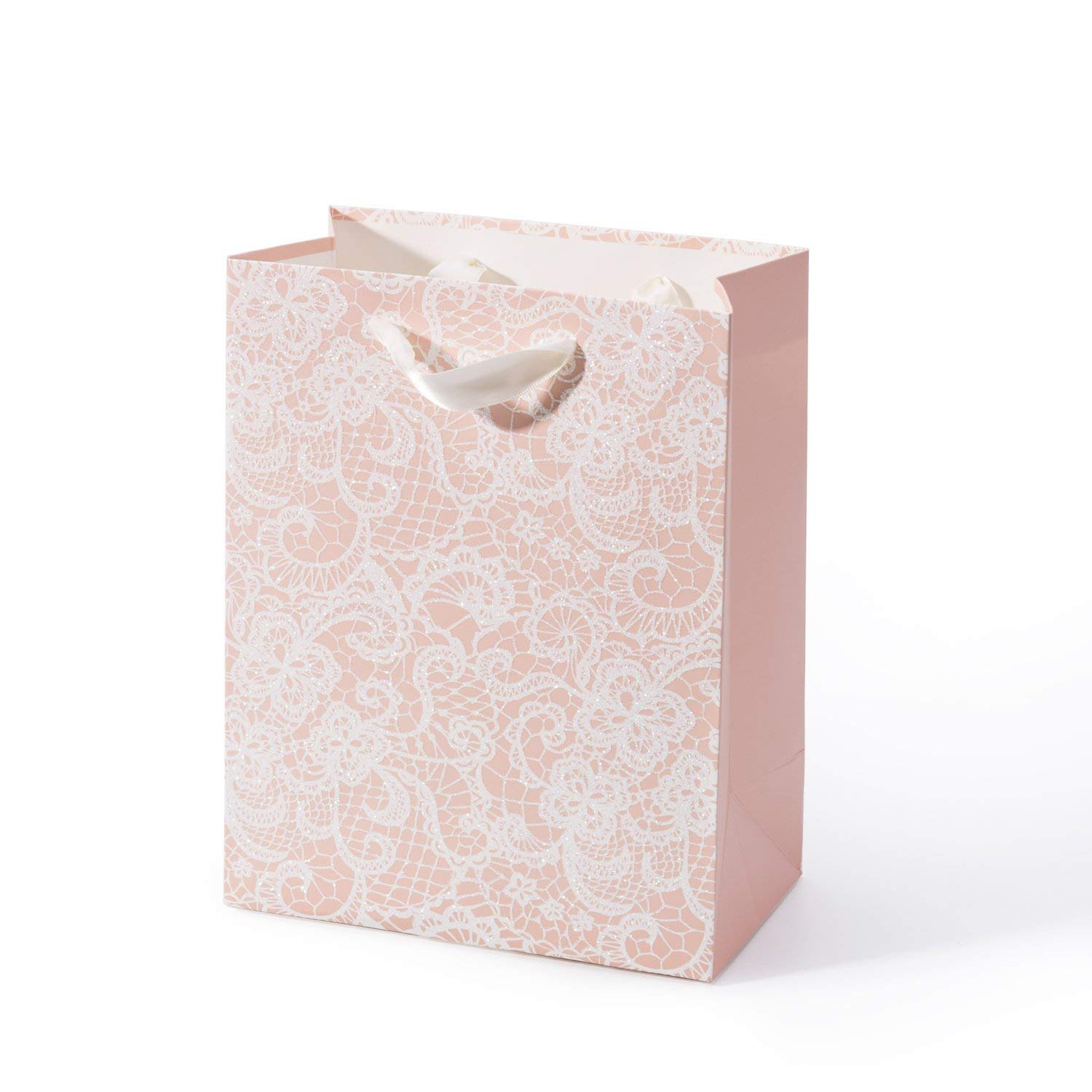 """WRAPAHOLIC Medium Size Gift Bags - Floral Lace Print with Glitter - Pink Shopping Bag for Wedding, Bridal, Baby Shower,Party Favors - 7"""" x 4"""" x 9"""" - 12 Pack"""