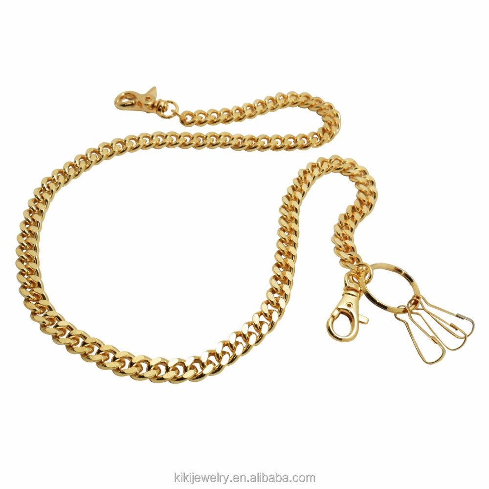 Custom New Gold Chain Design For Men Basic Curb Cuban Link Chain With Lobster Clasp Wallet Chain
