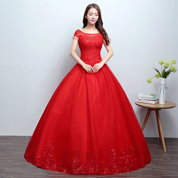 Led Plu Size Chinese New A Line Red Wedding Dress - Buy Red ...