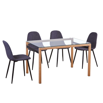 Cheap metal frame tempered glass dining table set