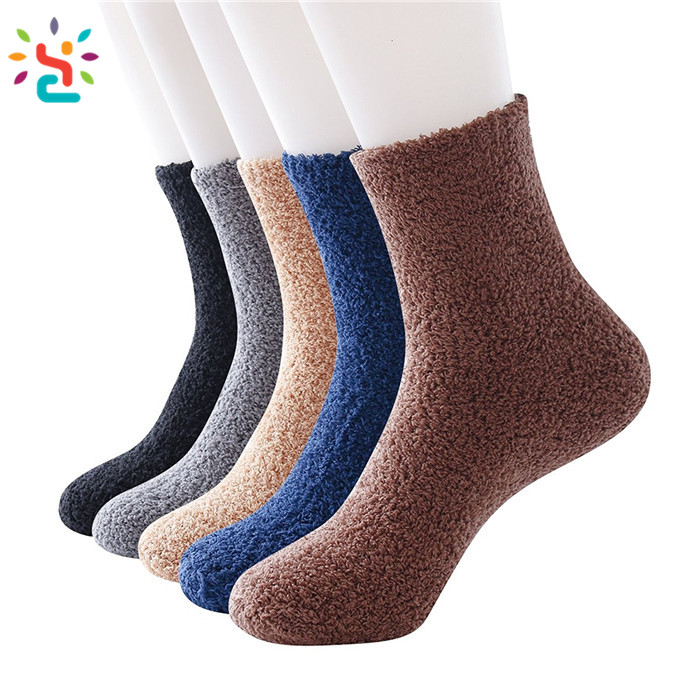 Solid Color Fuzzy Grippy Socks Plain Mens Winter Sock Crochet ...