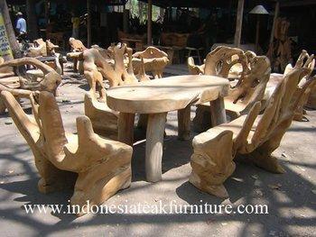 Teak radici di legno mobili da giardino set 1 tavolo 4 - Mobili da giardino in teak ...