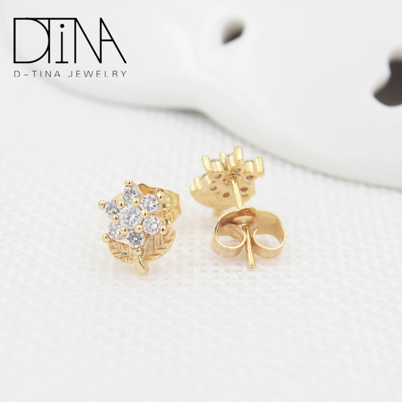DTINA Flowers in the shape cheap Chinese stud earrings high quality round stud earrings, Golden
