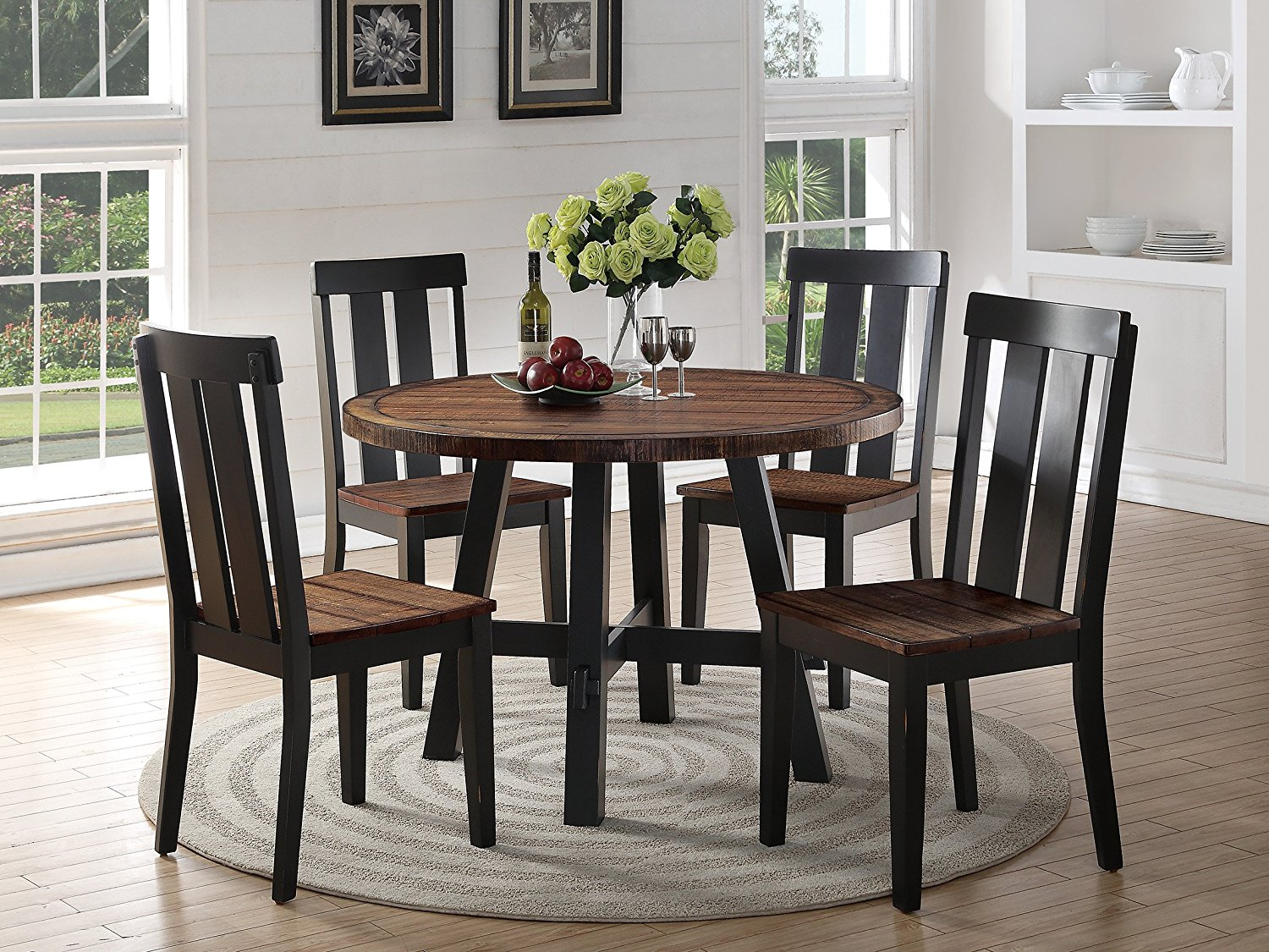 Modern Casual Small Kitchen Dining Room 5pc Set Distress Wood Dark Brown Finish Round Dining Table & 4 Side Chairs Kitchen Breakfast Room