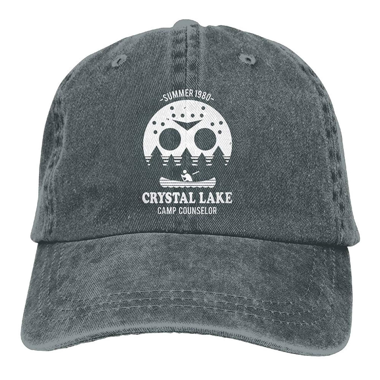 cedf389d4f0f3a Get Quotations · Camp Crystal Lake Denim Dad Cap Baseball Hat Adjustable  Sun Cap