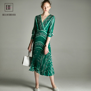 2019 women dresses paisley print green color 3/4 sleeve V-neck with Pleated at skirt part elegant midi evening party dress