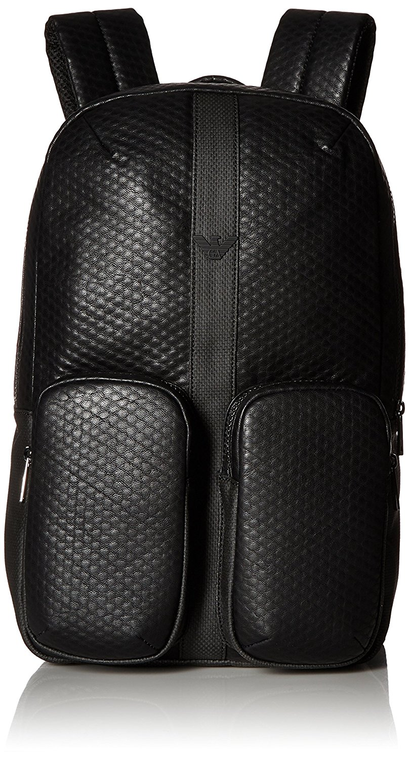 f939931ddfa Get Quotations · Armani Jeans Men s Embossed Pu and Canvas Small Backpack  with Eagle Logo