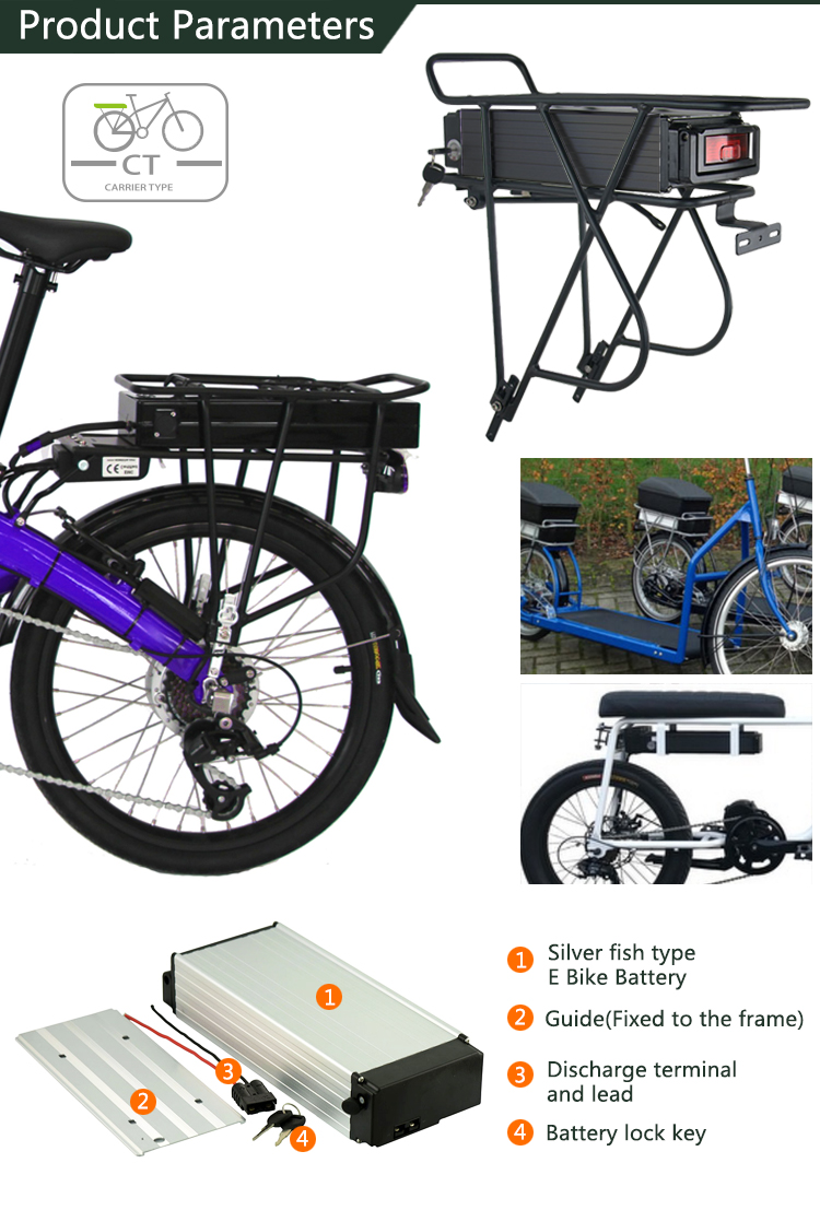 48v 25ah Li-ion Electric Bicycle Battery 48 volt lithium Battery  ebike rear rack  Battery