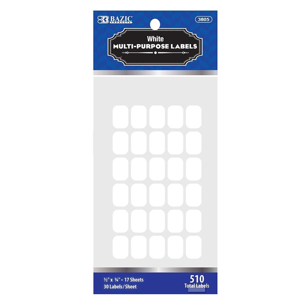 "BAZIC 1/2"" X 3/4"" White Multipurpose Label (510/Pack) (Case of 24)"