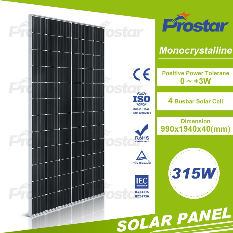high efficent 315w solar panel black monocrystalline