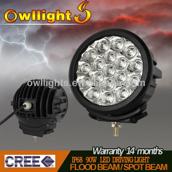 7'' 90W Round CREE LED Driving Light 8100 lumens ,IP68 90w LED Work Lamps for marine mining tractor