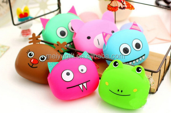 High quality monster design silicone coin purse with zipper for small change collet