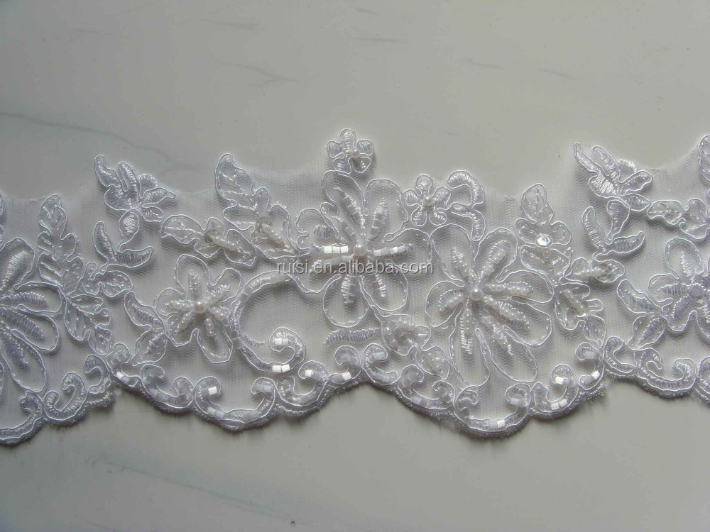 Cheap Trimming lace,Embroidery border with pearls & sequins for hemline or the skirt SBL61439CB