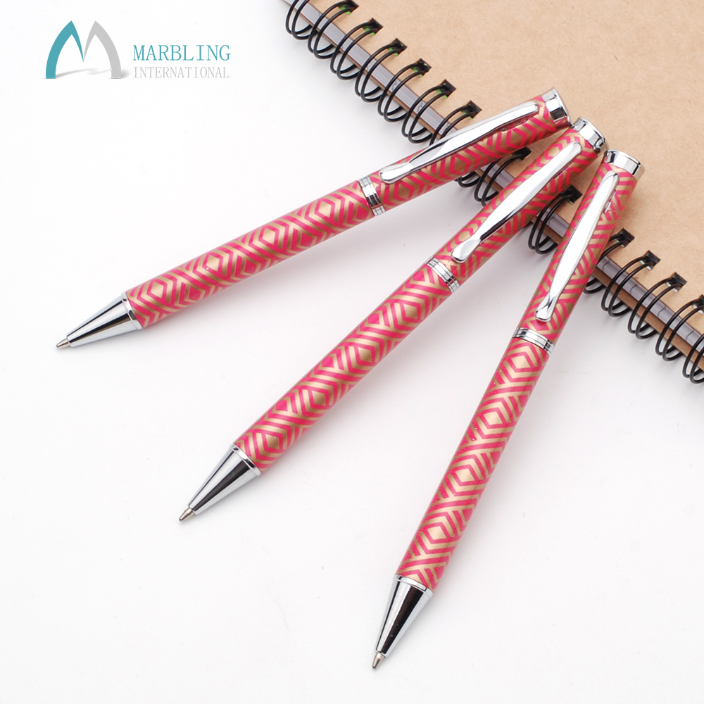 Marbling Special Luxury Printed Red Metal Twist Ink Pens