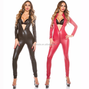 Factory Sell Faux Leather cATSUIT zIPPER Vinyl Wetlook bodysuit zentai full catsuit catwomen fancy costume